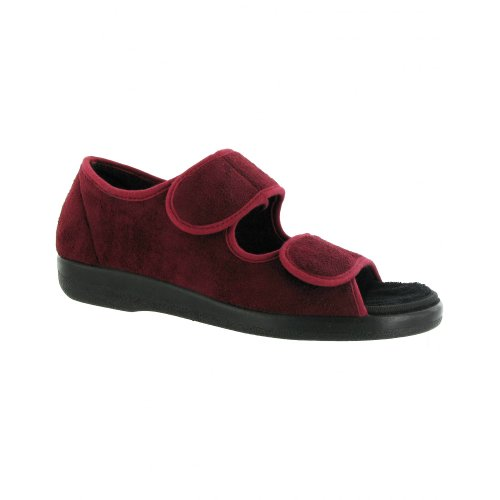 Gbs Brompton Touch Sluiting Open Teen Slipper / Unisex Slippers Bordeaux Rood