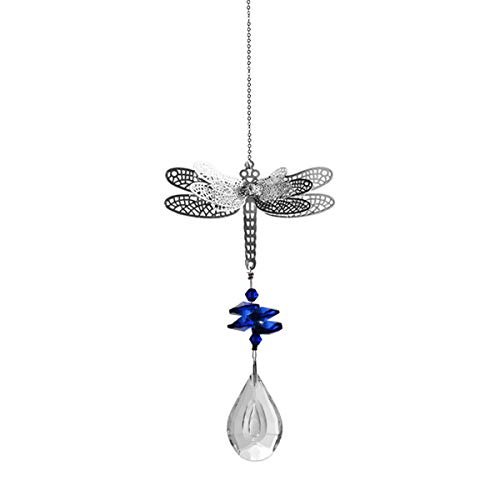 LONGSHENG Blue Crystal Dragonfly Suncatcher for Windows suncatcher Hanging Ornament Rainbow Maker Crystal Valentine's Day Birthday Present