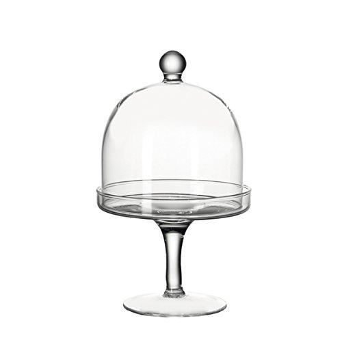 Leonardo 033105 2tlg. Petit Four Set Dolce, Glaseplatte auf Fuß mit Glasglocke Glashaube, Patisserie