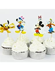 Disney Mickey Minnie Mouse Dessert Muffin Cupcake Toppers for Baby Shower Birthday Party (Pack of 24)