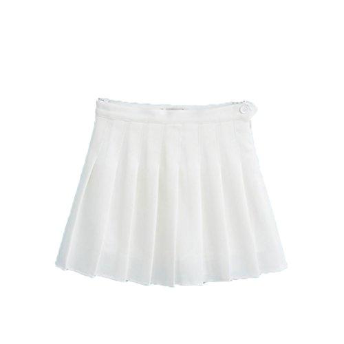 Soojun Womens Summer Active Skort Box Pleated Tennis Skirt, White, US 2