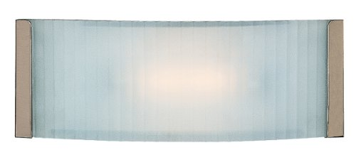 - Helium - Vanity - Brushed Steel Finish - Checkered Frosted Glass Shade