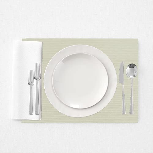 Essencea's 100% Cotton, Ribbed Placemats Woven Solid Elegant Casual Kitchen Dinner Table Mats Everyday Basic Placemat 13x19 inches (Light Beige) Set of 6