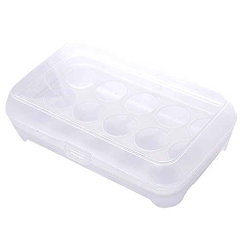 Quaanti Egg Container, Single Layer 15 Eggs Tray Refrigerator - Food Airtight Storage Folding Portable Holder for Kitchen Outdoor, Plastic Box Romance House (White)