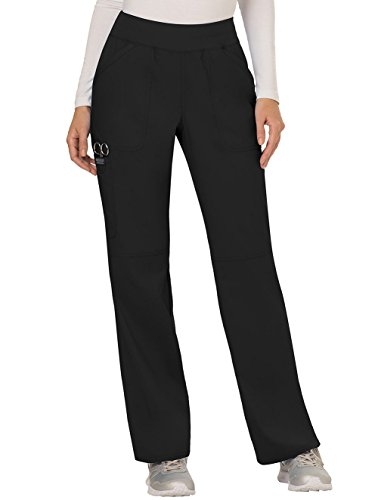 Cherokee Women's Mid Rise Straight Leg Pull-on Pant, Black, Large