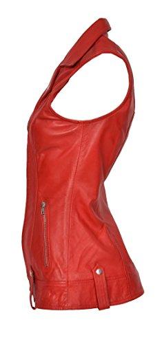 de chaqueta cuero larga mangas Chaleco sin rojo manga genuino mujer Tess ajustada de Chaleco para d7F5dq