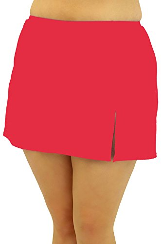 1b3ac89e407b A Shore Fit Plus Front Slit Swim Skirt 20W Coral pink