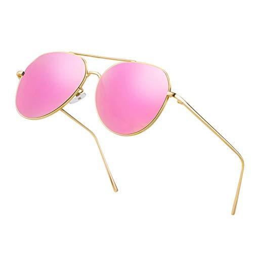 Classic Aviator Mirrored Flat Lens Sunglasses for Men and Women Big Metal Frame Durable Sun Glasses Driving Hiking Travelling Lightweight Oversized Shades UV400 Protection(RosePurple Lens/Gold Frame)