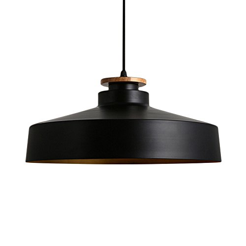 Glass Large Bowl Pendant (Industrial Retro Loft Chandelier, Motent Minimalism 15.7 inches Dia Single Head Dome Ceiling Lamp Shade Bowl Shaped Pendant Light Fixture with Wooden Cover for Bedroom Living Room Coffe House - Black)