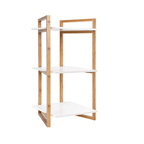 BAMFOX Bamboo Shelving Unit with 3 Tiers for Free Standing Rack,Shoe Rack,Bathroom Storage Rack, Kitchen Rack,Bookcase,Flower Rack of 18.1