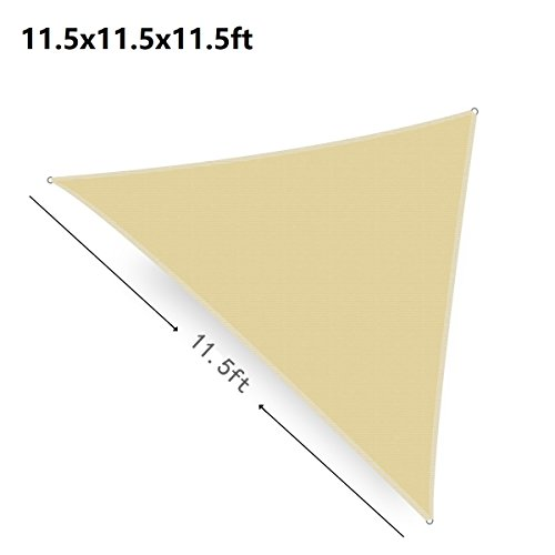 Shatex 11.5ft Wheat Color Triangle Durable Sun Shade Sail -UV Block for Patio and Outdoor … (Install Patio Concrete Block)
