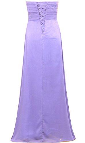 Robes De Demoiselle D'honneur En Mousseline De Soie Sans Bretelles Plissées Lavande Longue De Robes De Fourmis Femmes