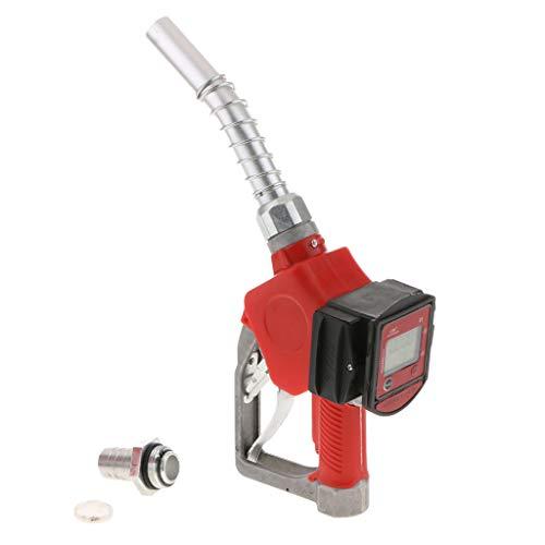 B Blesiya LCD Digital Flow Meter for Fuel Diesel Nozzle Automatic Diesel Fuel Nozzle with Built-in Flow Meter Red -