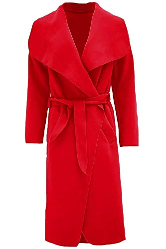 Islander Fashions Womens Trench Waterfall Italiano Duster Coat Donna francese con cintura giacca lunga S / 2XL Red