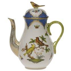 Bird Pot Coffee - Herend Rothschild Bird Blue Coffee Pot With Bird Top