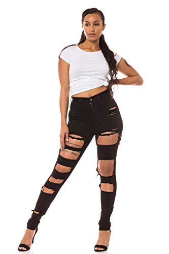 Aphrodite High Waisted Jeans for Women - High Rise Skinny Womens Light Hand Sanding Distressed Ripped Cut Out Jeans 4376 (Made in USA) Black 13 (High Waisted Buckle)