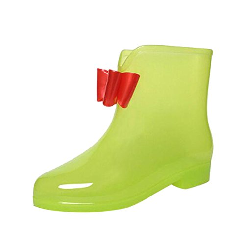 Meijunter Womens Transparent Bow Rainboots Ladies Fashion Non-slip Ankle Rain Boots Rubber Water Shoes Snow Boots Green