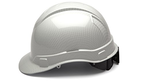 Vented Carbon Fiber - Cap Style Hard Hat, Adjustable Ratchet 4 Pt Suspension, Durable Protection safety helmet, White Shiny Graphite Pattern Design, by Tuff America