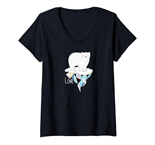 Womens Cute White Polar Bear Love  V-Neck T-Shirt ()