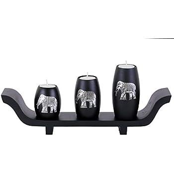 Baimai Tea Light Candle Holders Set of 3 with Elephant Aluminium