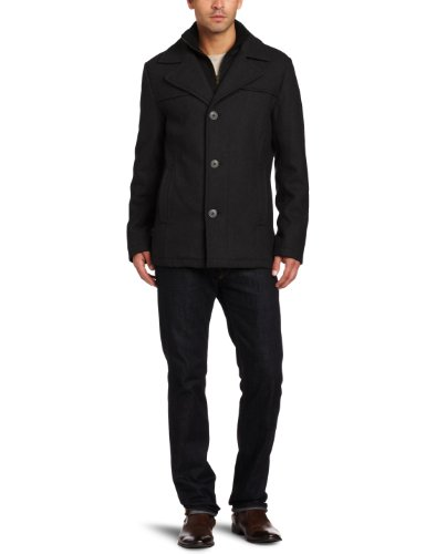 Kenneth Cole New York Men's Melton Single-Breasted Coat