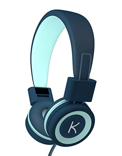 KidMoments K12 Kids Headphones with 85dB Volume Limited for Hearing Protection,Made of Food Grade Material,BPA-Free,Tangle-Free Cord, Wired On-Ear Headphones for Children,Toddler,Baby