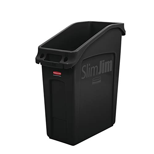 Rubbermaid Commercial Products 2026696 Slim Jim Under-Counter Trash Can with Venting Channels, 13 Gallon, Black
