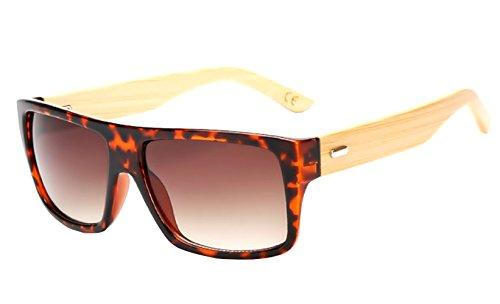 Gafas Wayfarer de sol de Espejo Unisex Espejo Efecto Marrón Mujer madera Hombre SqrSEH