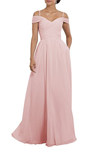 YORFORMALS Women's Off The Shoulder Ruched Chiffon Long Bridesmaid Dress Formal Party Gown with Pockets Size 16 Pink