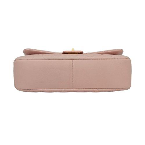 COSTANZA Borsetta pochette a spalla grande in pelle trapuntata tracolla catena e pelle oro chiaro pelle liscia morbida Media Rosa cipria