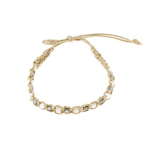 (BlueRica Hemp Anklet Bracelet with White Cat's Eye & Silver Glitter Fimo Beads )