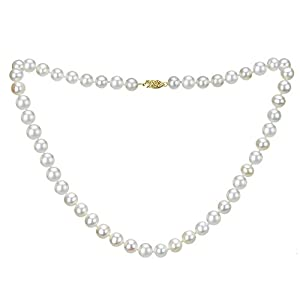 14k Yellow Gold 9-9.5mm White Freshwater Cultured AAA High Luster Pearl Strand