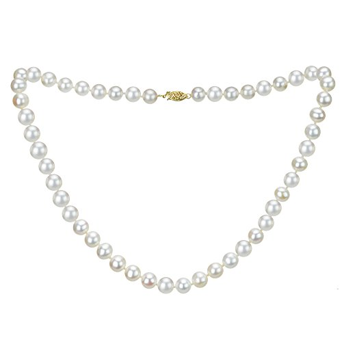 14k Yellow Gold 9-9.5mm White Freshwater Cultured AAA High Luster Pearl Strand, 18