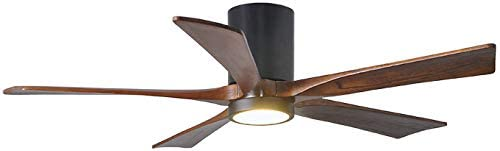 Matthews IR5HLK-BK-WA-52 Irene 52 Outdoor Hugger Ceiling Fan with LED Light and Remote Wall Control, 5 Wood Blades, Matte Black