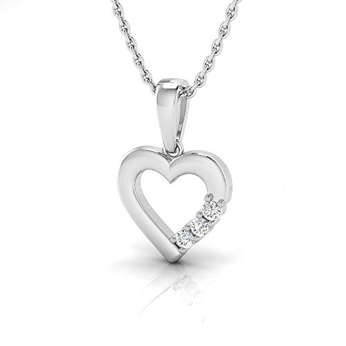 IGI Certified 1/20 Carat Natural Diamond Sterling Silver Heart Pendant for Women with Chain (J-K Color, I2-I3 Clarity)