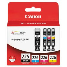 Canon PGI225CLI226 Ink Cartridges, Black/Cyan/Magenta/Yellow in Retail Packaging
