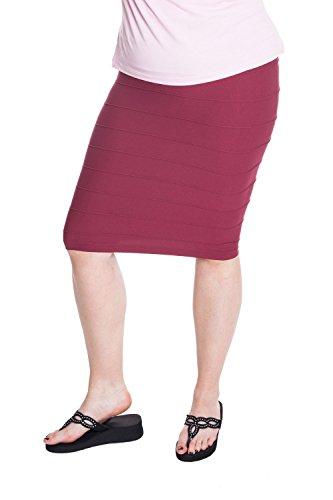 Esteez Stretchy Pencil Skirt for Women Opaque Lightweight Slimfit Burgandy Wine Small/Medium