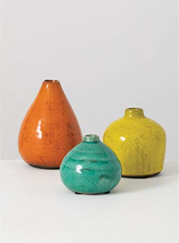 - Sullivans Ceramic Vase Set, Various Sizes, Aqua, Orange, Green, Set of 3 (CM2219)
