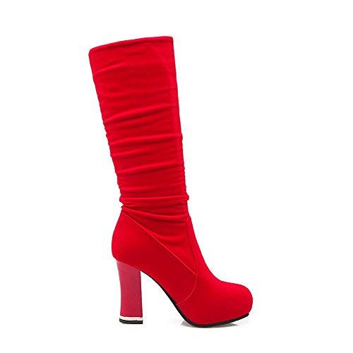 AgooLar Damen Mattglasbirne Hoch-Spitze Eingelegt Ziehen auf Hoher Absatz Stiefel Rot