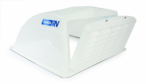 Camco RV Roof Vent Shelter, Opens For Easy Cleaning, Aerodynamic Design, Easily Mounts to RV With Included Hardware (White) (40431)