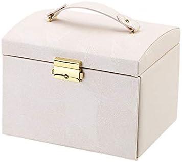 Schmuckkasten Schmuck Organizer Box DREI Schichten PU-Leder-Schmucksache-Aufbewahrungsbehälter mit Spiegel und Verschluss for Mädchen und Frauen (Color : Pink, Size : 17.5X13.5X12CM)