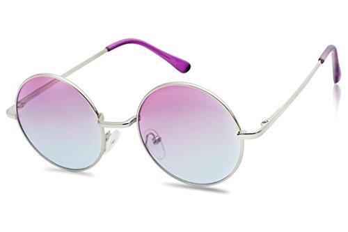 Sunglass Stop - Super Cute Small Round Purple Gradient Fade Sunglasses (Silver , Purple - Round Sunglasses Tiny