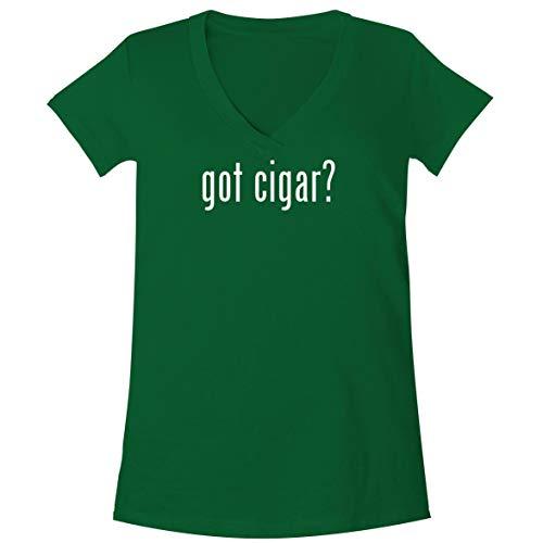 The Town Butler got Cigar? - A Soft & Comfortable Women's V-Neck T-Shirt, Green, X-Large