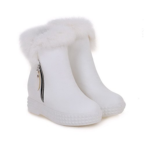 Round Top Women's White Heels Kitten Boots Low Solid Closed Zipper AmoonyFashion Toe qRXECxwx