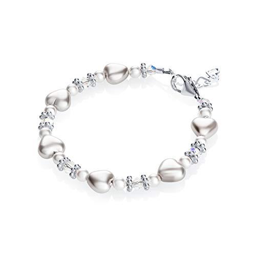 Pure White Heart Bracelet with Swarovski Crystals Infant Girl Spring Bracelet (B1701_M)
