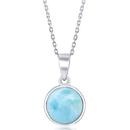 Sterling Silver High Polish Bezel-Set Round Natural Larimar 18 Pendant Necklace