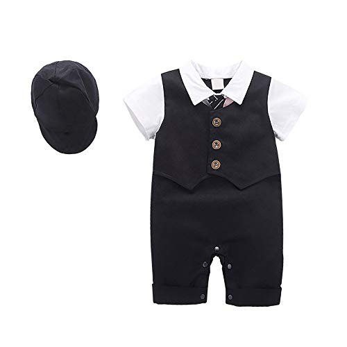 Yilaku Baby Boys Gentleman Outfit Suits,Toddler Infant Short Sleeve One Piece+Bowtie + Hat Baby Summer Outfit Set (12-18Month) Black