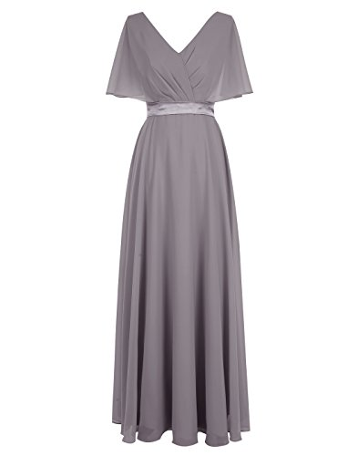 ALAGIRLS V Neck Chiffon Bridesmaid Dress Lace Up Back Prom Dress Satin Sash GreyUS8