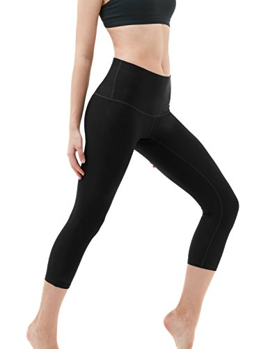 TSLA Yoga Pants 21 inches Capri High-Waist Tummy Control w Pocket, Yogabasic Thick Contour(fyc32) - Black, Large (Size 10-12_Hip41-43 Inch)
