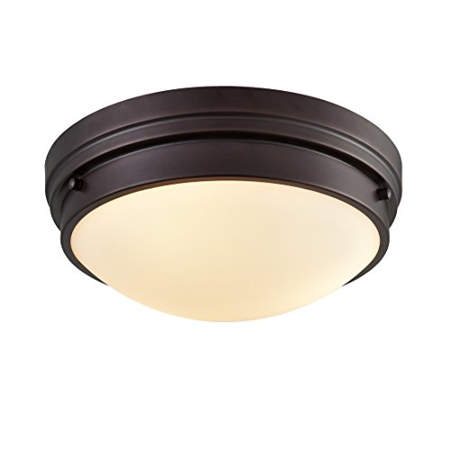 eiling Light Oil Rubbed Bronze 3 Lights with Frosted Glass Shade ()